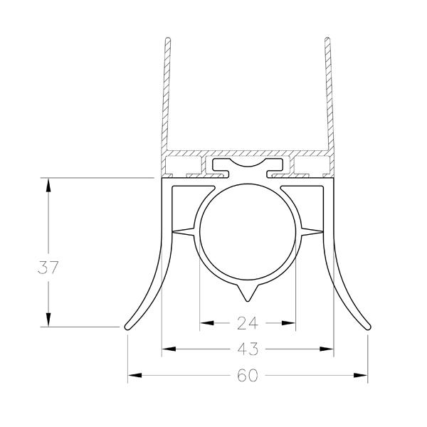 Joint bas 2 levres pour porte sectionnelle ou basculante for Bavette porte de garage basculante